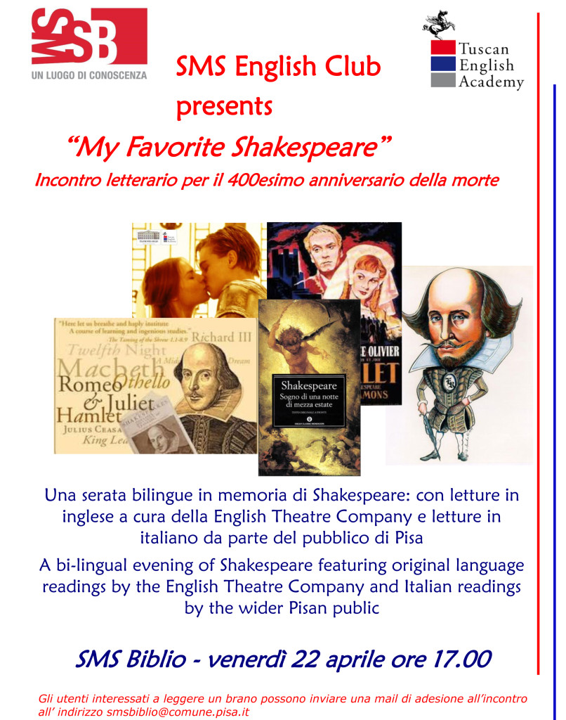Corsi Inglese Pisa Lucca Tuscan English Academy SMS Biblio Shakespeare Cut