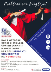 PISA (Universitari): Corsi 'low cost' solo per gli studenti universitari - Medicine / Biomedical Engineering @ New York English Academy